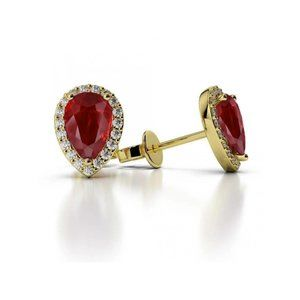 Prong Set Pear Cut Ruby With Diamonds 5.20 Ct Stud